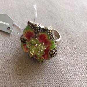 Swarovski crystal Marcasite enamel ring Size 5 NWT
